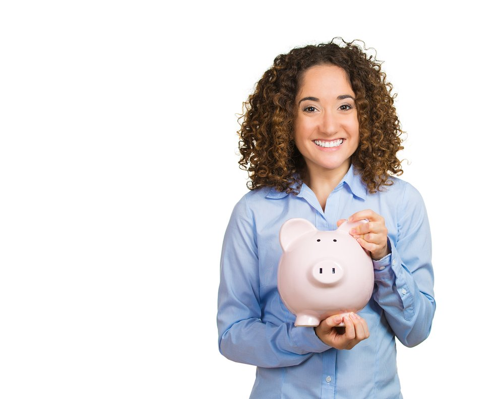 Closeup portrait happy beautiful business woman bank employee, student hugging piggy bank, excited open savings account isolated white background. Financial concept. Positive emotion facial expression