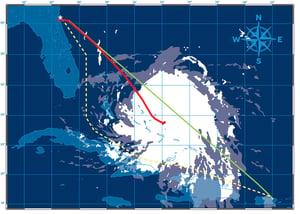 El-Faro Hurricane Two Paths shown