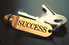 Keys to Success - Concept on Golden Keychain over Black Wooden Background. Closeup View, Selective Focus, 3D Render. Toned Image.