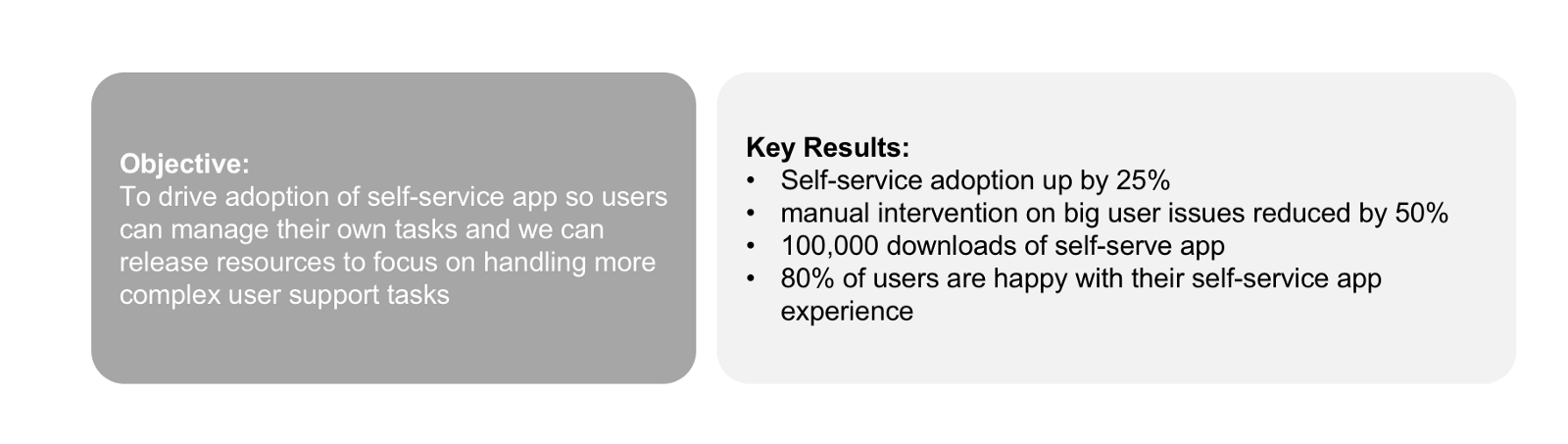 OKR Pairing of Key Result Example App Customer X
