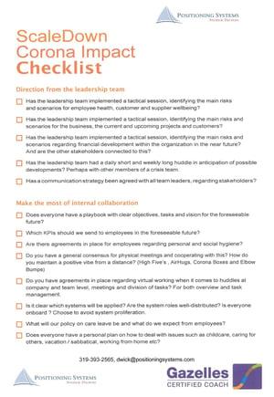 ScaleDown Corona Impact Checklist