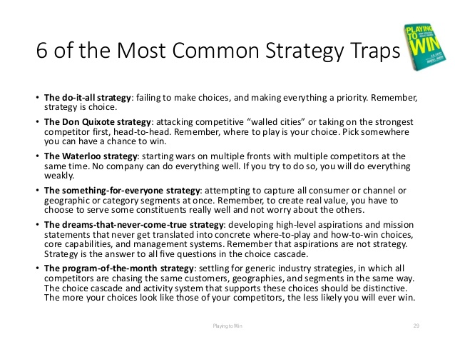 Six Common Strategy Traps  Playing to Win