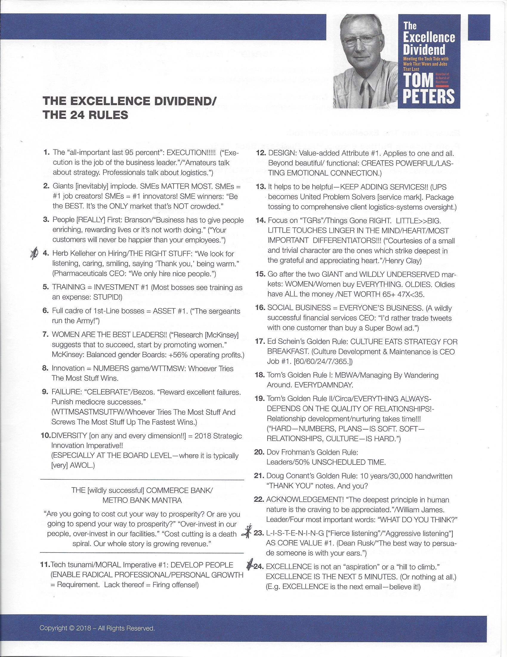 Tom Peters NOLA ScaleUp Summit - 24 Rules
