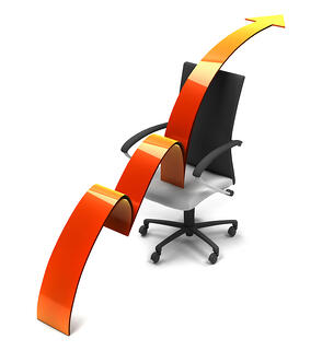arrow moving up over an office chair isolated
